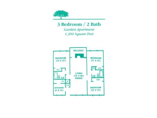 3 Bedrooms 2 Bathrooms Apartment for rent at The Gables Apartments in Knoxville, TN