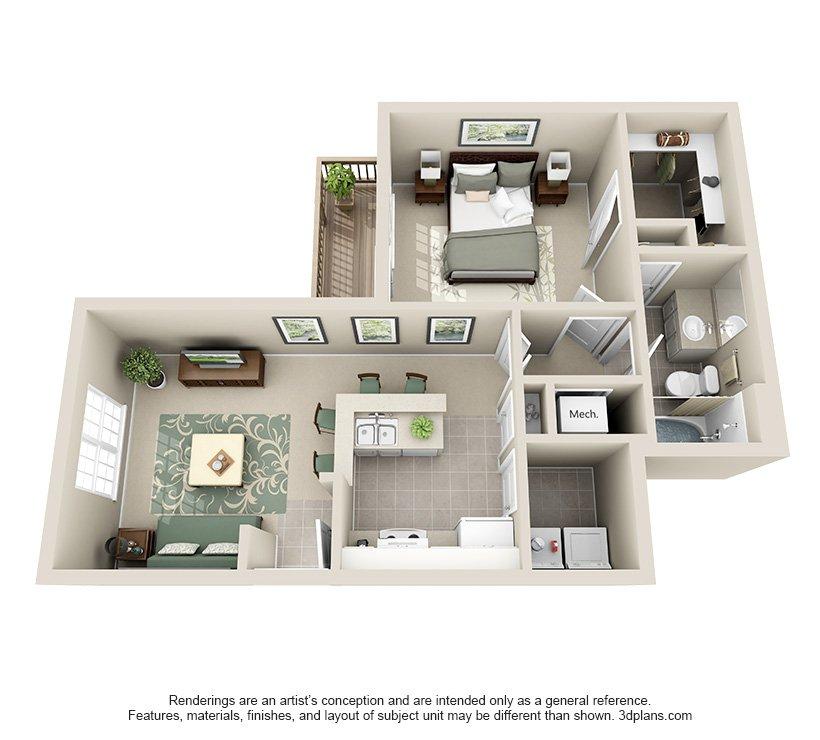 1 Bedroom 1 Bathroom Apartment for rent at Hawthorne At Lake Heather in Birmingham, AL
