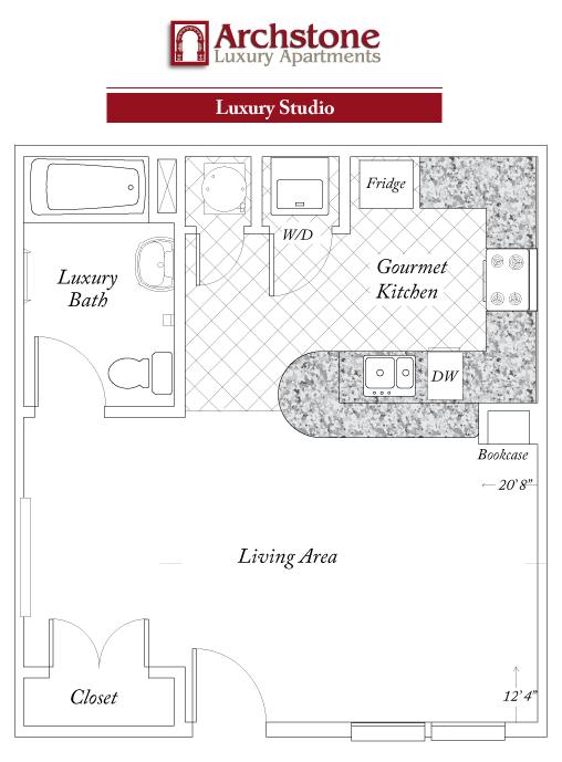 Studio 1 Bathroom Apartment for rent at Archstone Luxury Apartments in Gainesville, FL