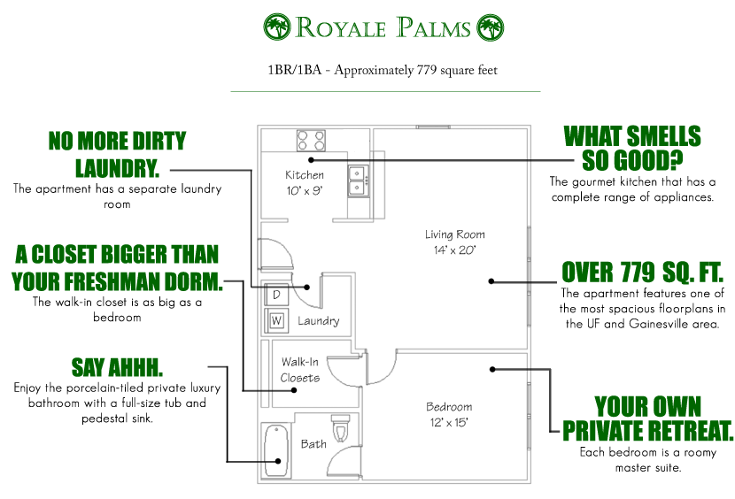 1 Bedroom 1 Bathroom Apartment for rent at Royale Palms in Gainesville, FL