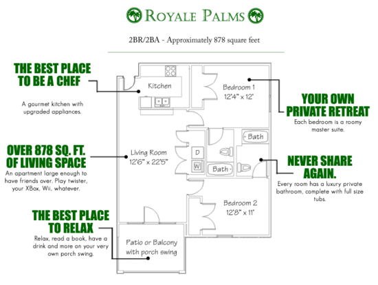 2 Bedrooms 2 Bathrooms Apartment for rent at Royale Palms in Gainesville, FL