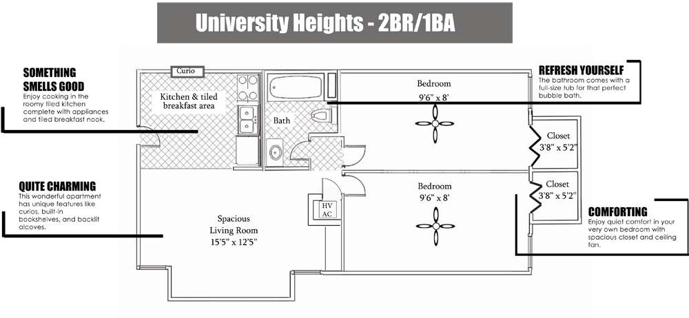 2 Bedrooms 1 Bathroom Apartment for rent at University Heights in Gainesville, FL