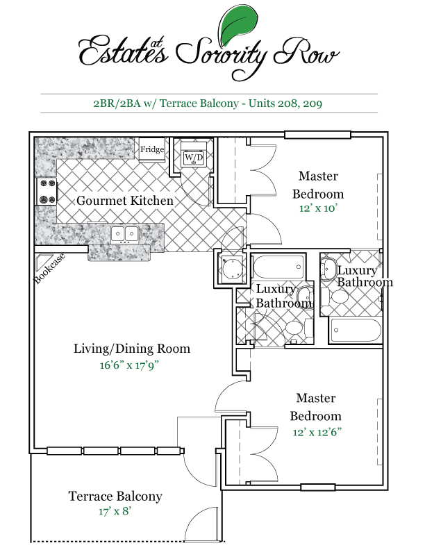 2 Bedrooms 2 Bathrooms Apartment for rent at Estates At Sorority Row in Gainesville, FL