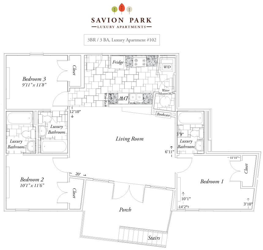 3 Bedrooms 3 Bathrooms Apartment for rent at Savion Park in Gainesville, FL