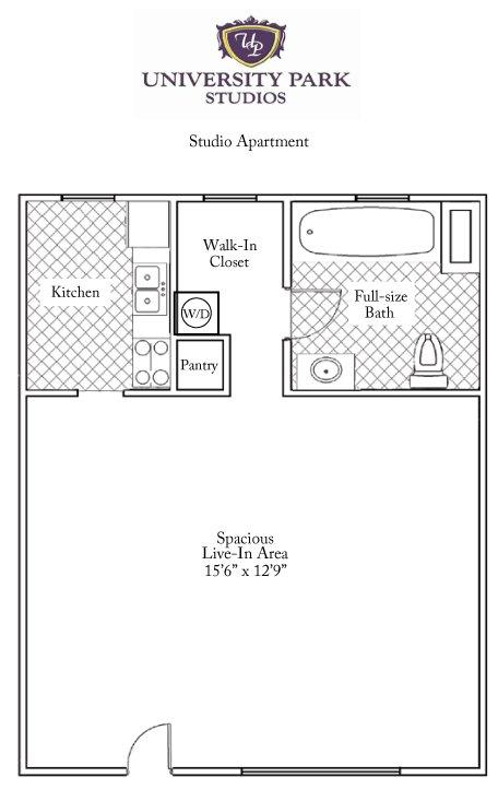 Studio 1 Bathroom Apartment for rent at University Park Studios in Gainesville, FL