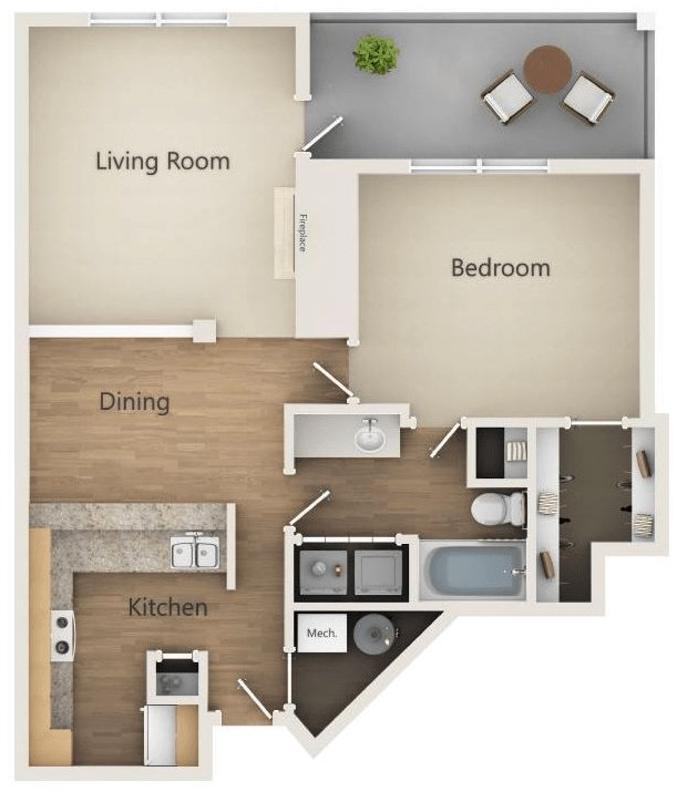 1 Bedroom 1 Bathroom Apartment for rent at Alexander Place in Charlotte, NC