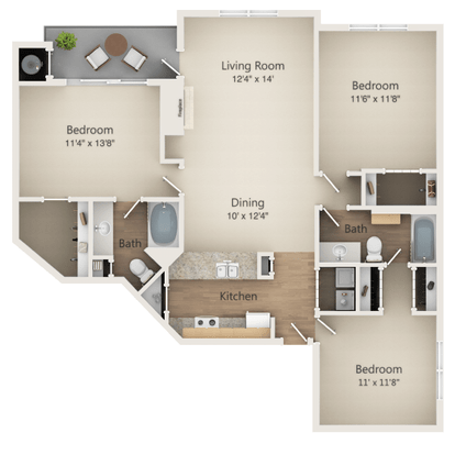 3 Bedrooms 2 Bathrooms Apartment for rent at Ashford Green Luxury Apartments in Charlotte, NC