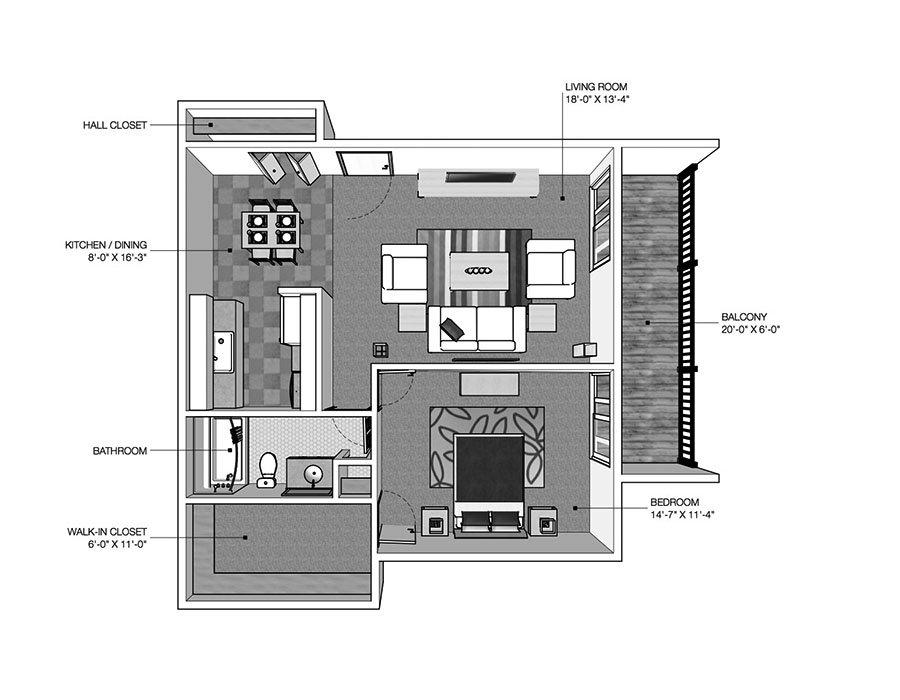 1 Bedroom 1 Bathroom Apartment for rent at River Drive Apartments in Ypsilanti, MI