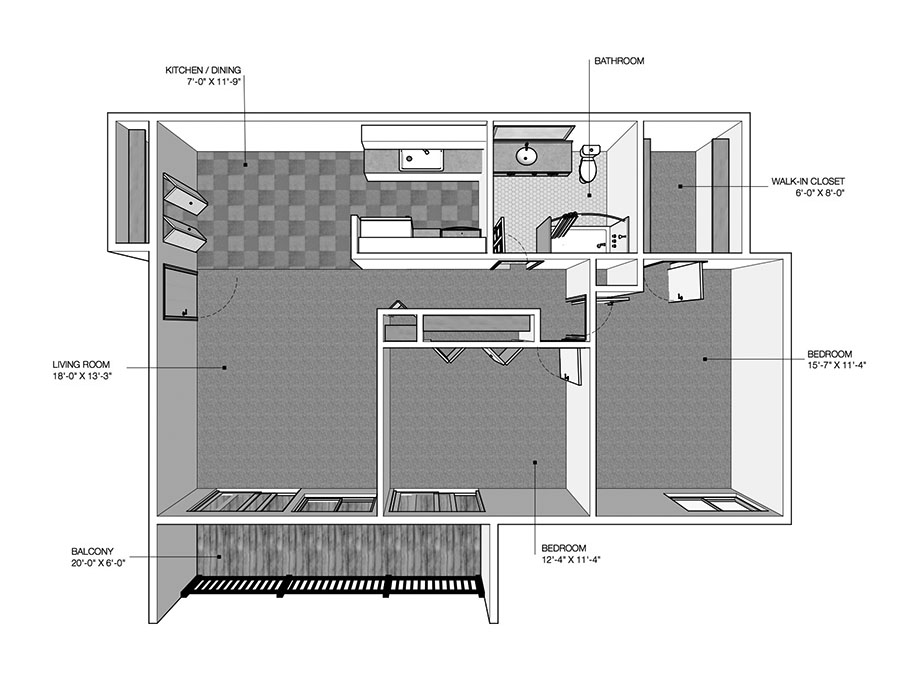 2 Bedrooms 1 Bathroom Apartment for rent at River Drive Apartments in Ypsilanti, MI