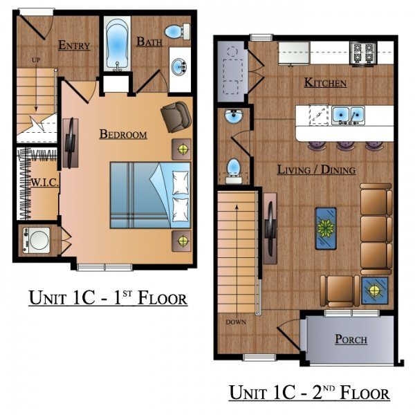 1 Bedroom 2 Bathrooms Apartment for rent at Northgate Proper in College Station, TX