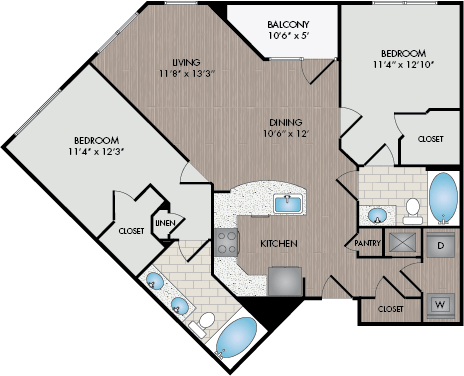 2 Bedrooms 2 Bathrooms Apartment for rent at Marshall Park in Raleigh, NC