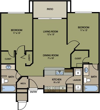 2 Bedrooms 2 Bathrooms Apartment for rent at Jefferson Square in Denver, CO