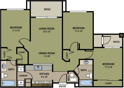 3 Bedrooms 2 Bathrooms Apartment for rent at Jefferson Square in Denver, CO