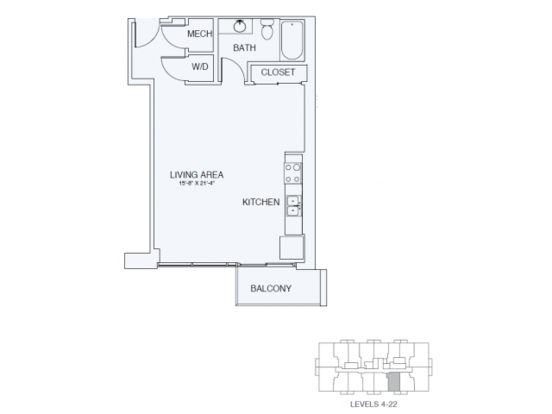 Studio 1 Bathroom Apartment for rent at Sky House Raleigh in Raleigh, NC