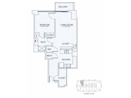 1 Bedroom 1 Bathroom Apartment for rent at Sky House Raleigh in Raleigh, NC