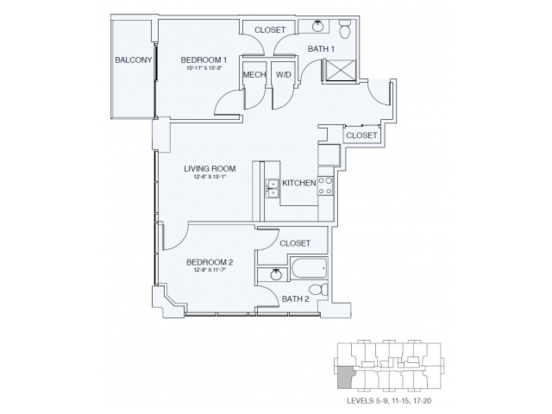 2 Bedrooms 2 Bathrooms Apartment for rent at Sky House Raleigh in Raleigh, NC