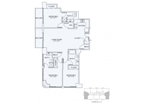 3 Bedrooms 3 Bathrooms Apartment for rent at Sky House Raleigh in Raleigh, NC