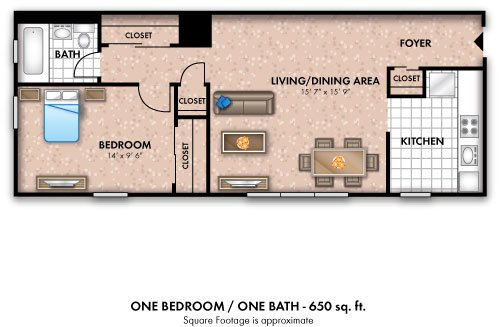 1 Bedroom 1 Bathroom Apartment for rent at The Flats At Douglas in Toledo, OH