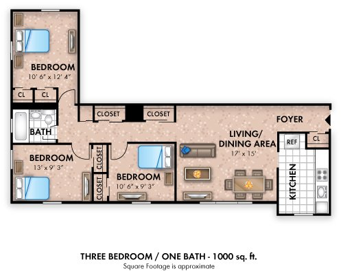 3 Bedrooms 1 Bathroom Apartment for rent at The Flats At Douglas in Toledo, OH