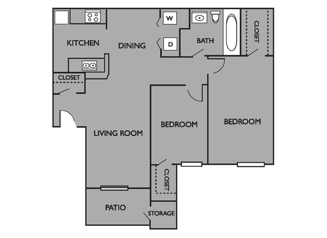 2 Bedrooms 1 Bathroom Apartment for rent at Wood Trail Apartments in Bryan, TX