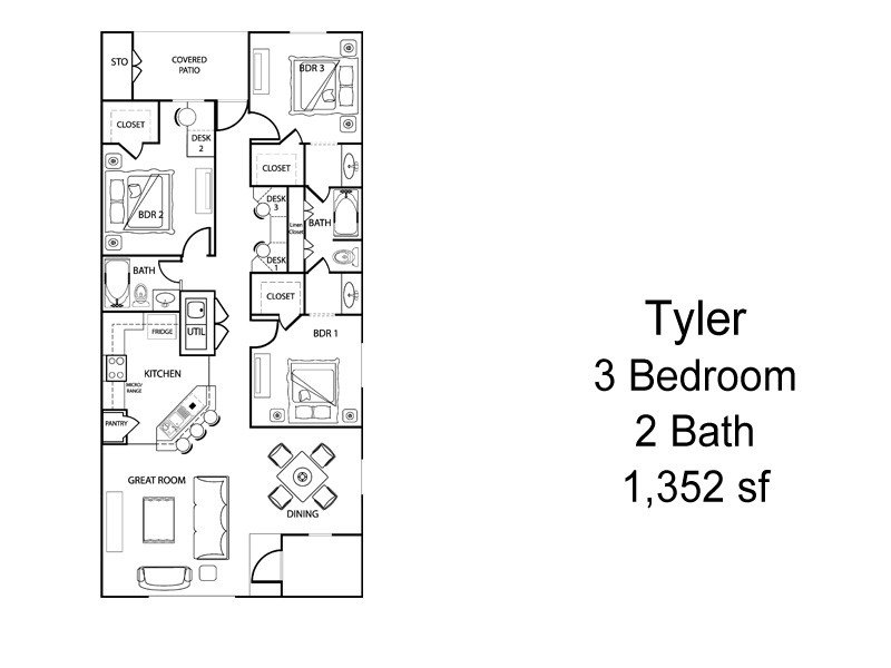 3 Bedrooms 2 Bathrooms Apartment for rent at The Village At Creek Meadows in College Station, TX