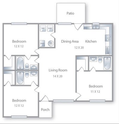 3 Bedrooms 3 Bathrooms Apartment for rent at Deer Park in Athens, GA