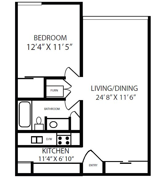 1 Bedroom 1 Bathroom Apartment for rent at Thirty 43 By The Greene in Kettering, OH