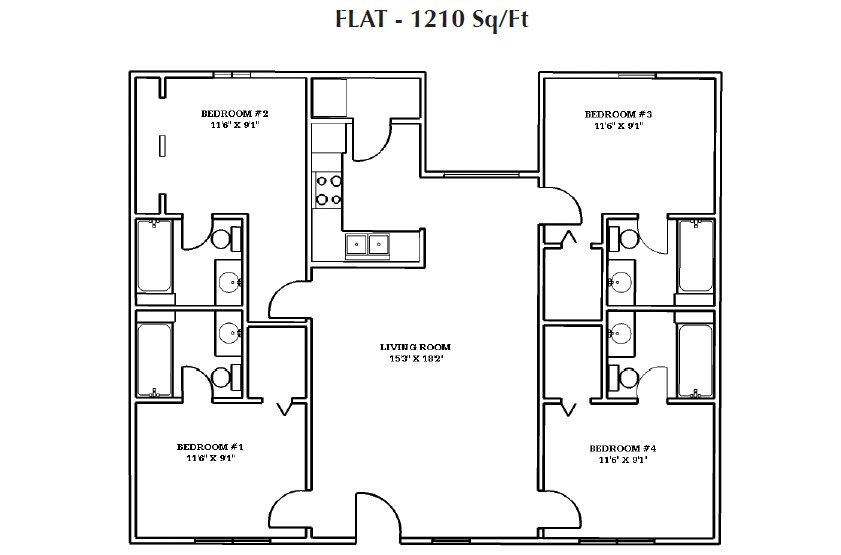 4 Bedrooms 3 Bathrooms Apartment for rent at Waterford Place in Athens, GA