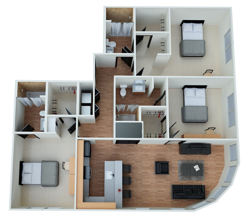 3 Bedrooms 3 Bathrooms Apartment for rent at Eclipse On Madison in Tallahassee, FL