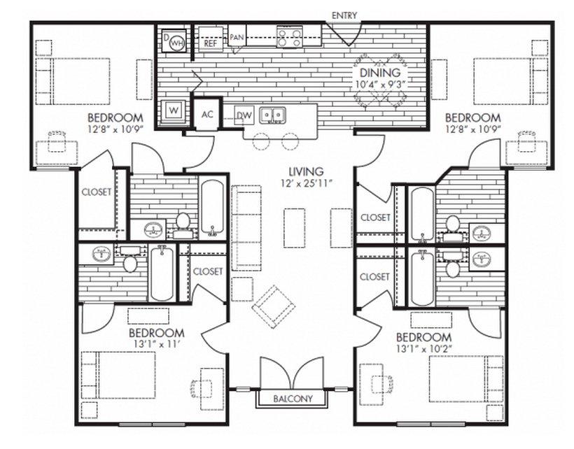 4 Bedrooms 4+ Bathrooms Apartment for rent at Midtown Arlington in Arlington, TX