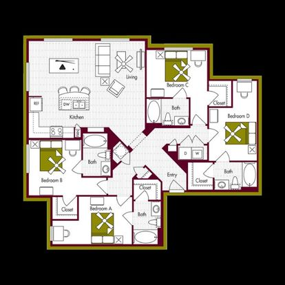 4 Bedrooms 4+ Bathrooms Apartment for rent at Domain At Northgate in College Station, TX
