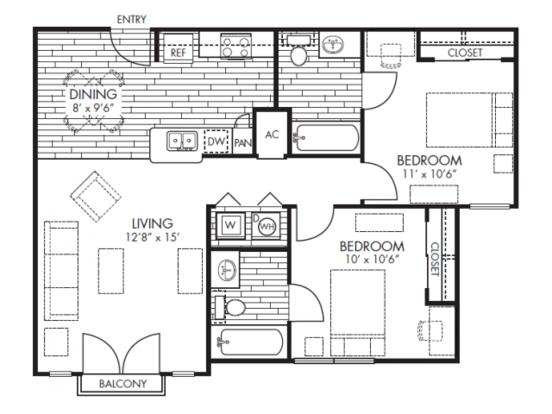 2 Bedrooms 2 Bathrooms Apartment for rent at Midtown Arlington in Arlington, TX