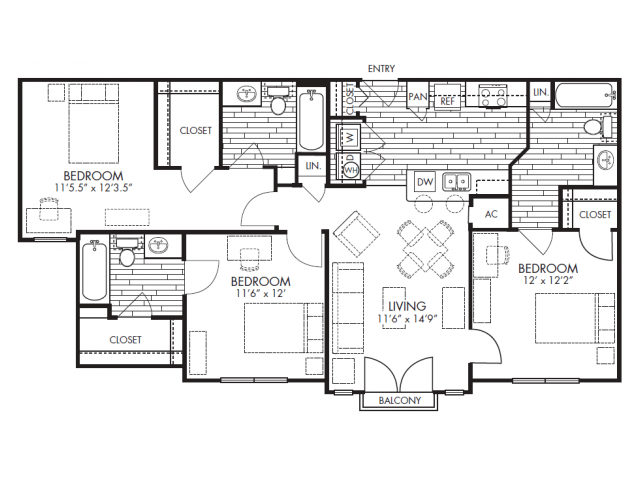 3 Bedrooms 3 Bathrooms Apartment for rent at Midtown Arlington in Arlington, TX