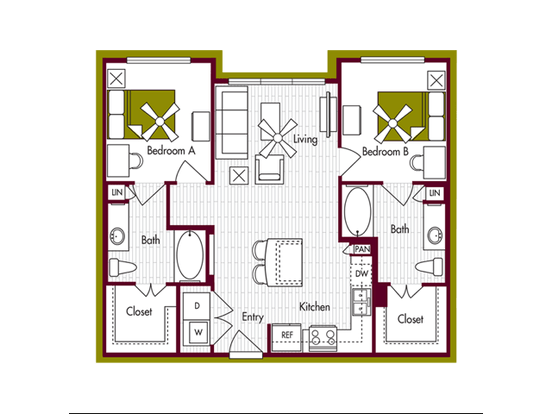 2 Bedrooms 2 Bathrooms Apartment for rent at Domain At Northgate in College Station, TX
