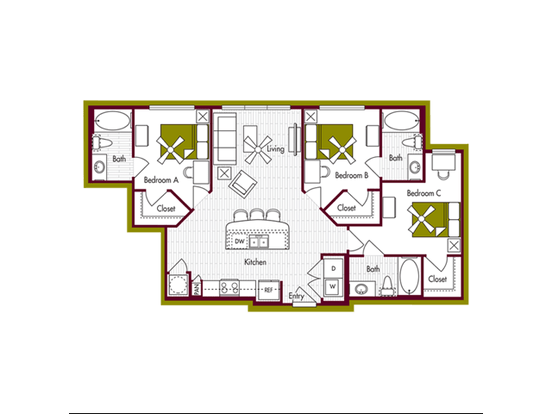 3 Bedrooms 3 Bathrooms Apartment for rent at Domain At Northgate in College Station, TX