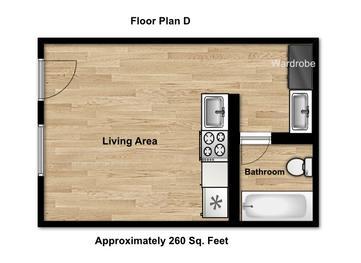 Studio 1 Bathroom Apartment for rent at Argo Apartments in Athens, GA