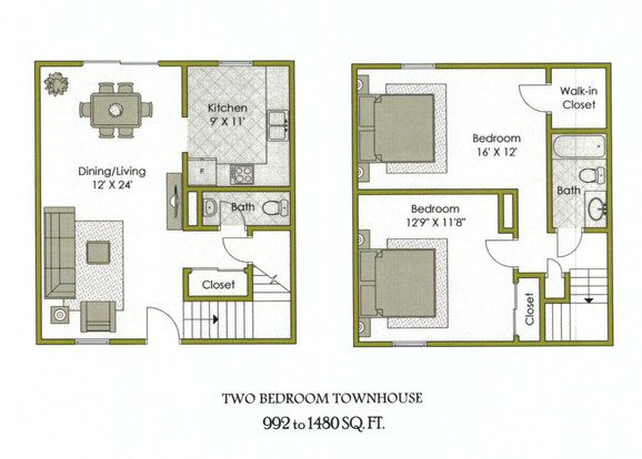 2 Bedrooms 1 Bathroom Apartment for rent at Kensington Square Apartments in Trotwood, OH