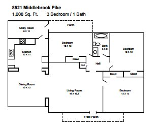 3 Bedrooms 1 Bathroom House for rent at 8521 Middlebrook Pike in Knoxville, TN