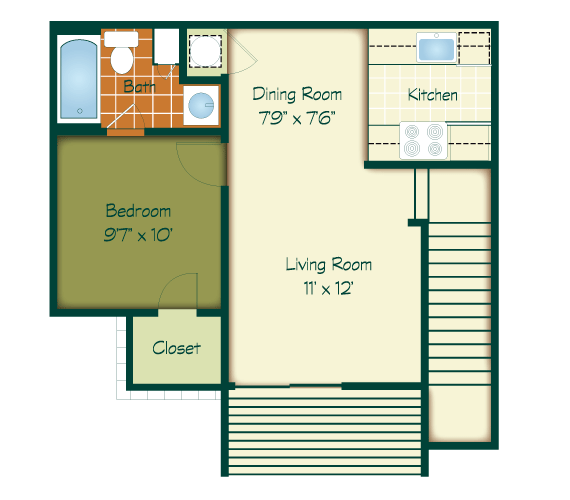 1 Bedroom 1 Bathroom Apartment for rent at Raintree in Lexington, KY
