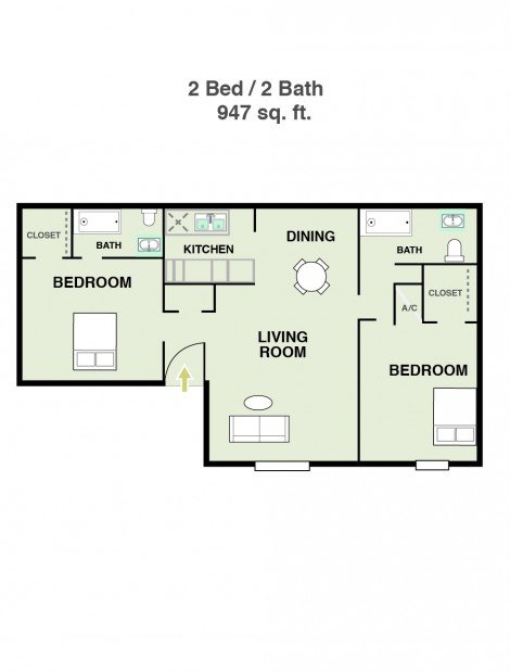 2 Bedrooms 2 Bathrooms Apartment for rent at Ridge At Southcross in San Antonio, TX