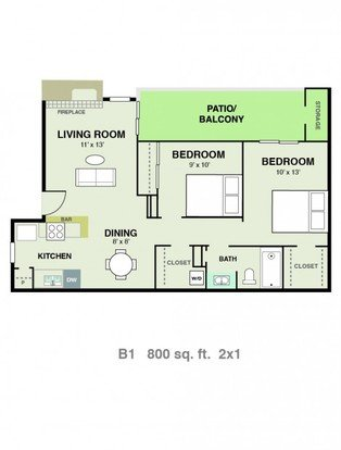 2 Bedrooms 1 Bathroom Apartment for rent at Vizcaya Apartments in San Antonio, TX