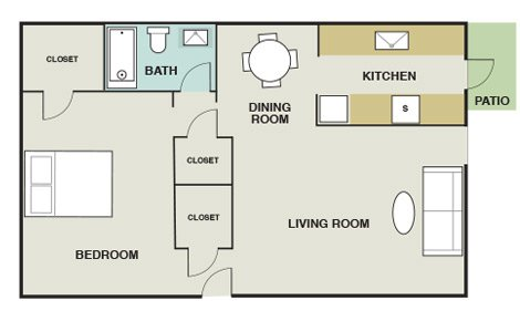 1 Bedroom 1 Bathroom Apartment for rent at Willow Oaks Apartments in Bryan, TX