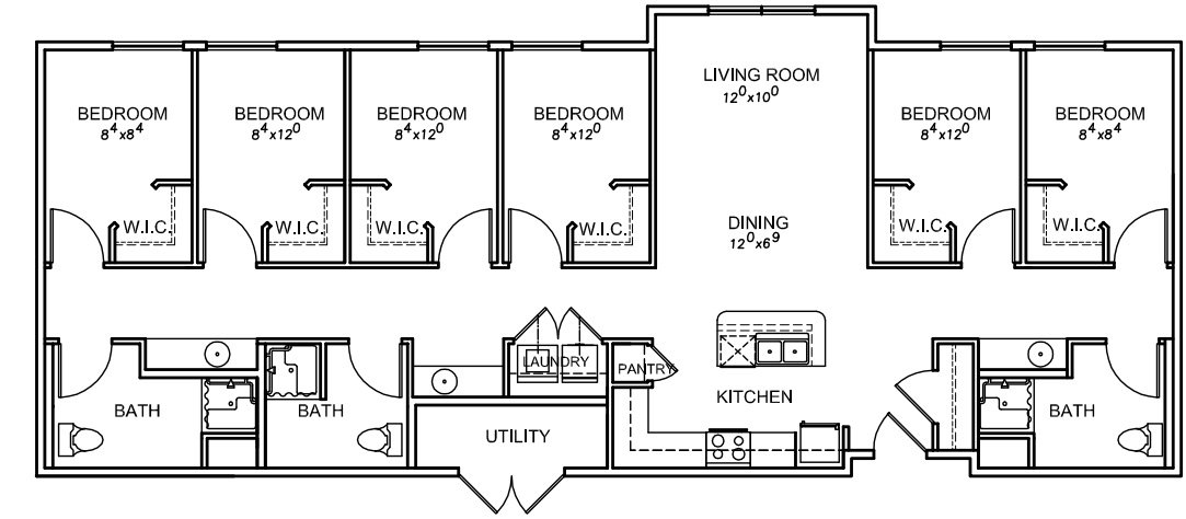 5 Bedrooms 3 Bathrooms Apartment for rent at Riverside Apartments in Logan, UT