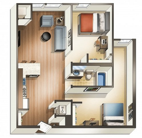 2 Bedrooms 1 Bathroom Apartment for rent at Wa Hu Student Apartments in Minneapolis, MN