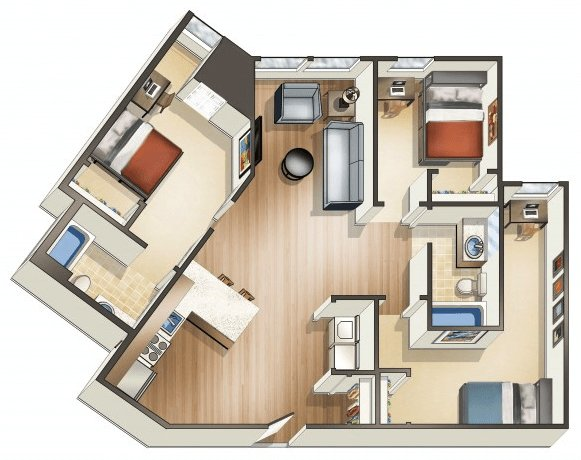 3 Bedrooms 2 Bathrooms Apartment for rent at Wa Hu Student Apartments in Minneapolis, MN