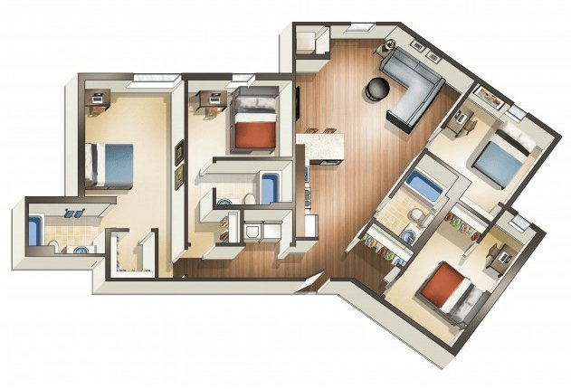 4 Bedrooms 3 Bathrooms Apartment for rent at Wa Hu Student Apartments in Minneapolis, MN