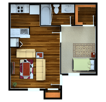 Studio 1 Bathroom Apartment for rent at Meadows Point in College Station, TX