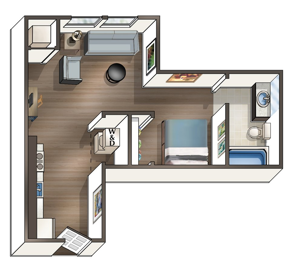Studio 1 Bathroom Apartment for rent at Wa Hu Student Apartments in Minneapolis, MN