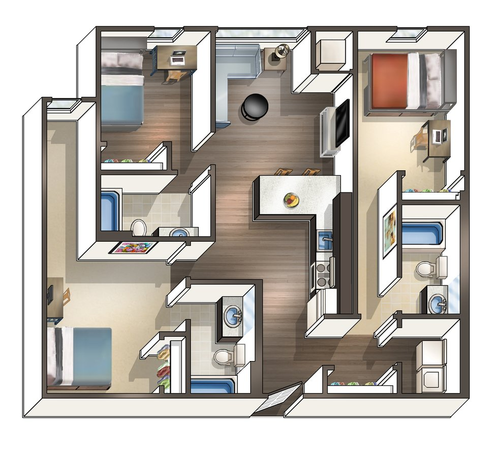3 Bedrooms 3 Bathrooms Apartment for rent at Wa Hu Student Apartments in Minneapolis, MN