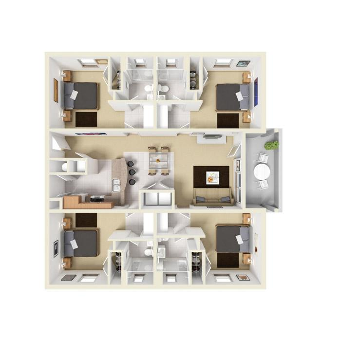 4 Bedrooms 3 Bathrooms Apartment for rent at The Villages Of San Carlo in Tallahassee, FL